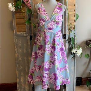 Garnet Hill Peony print sleeveless empire dress